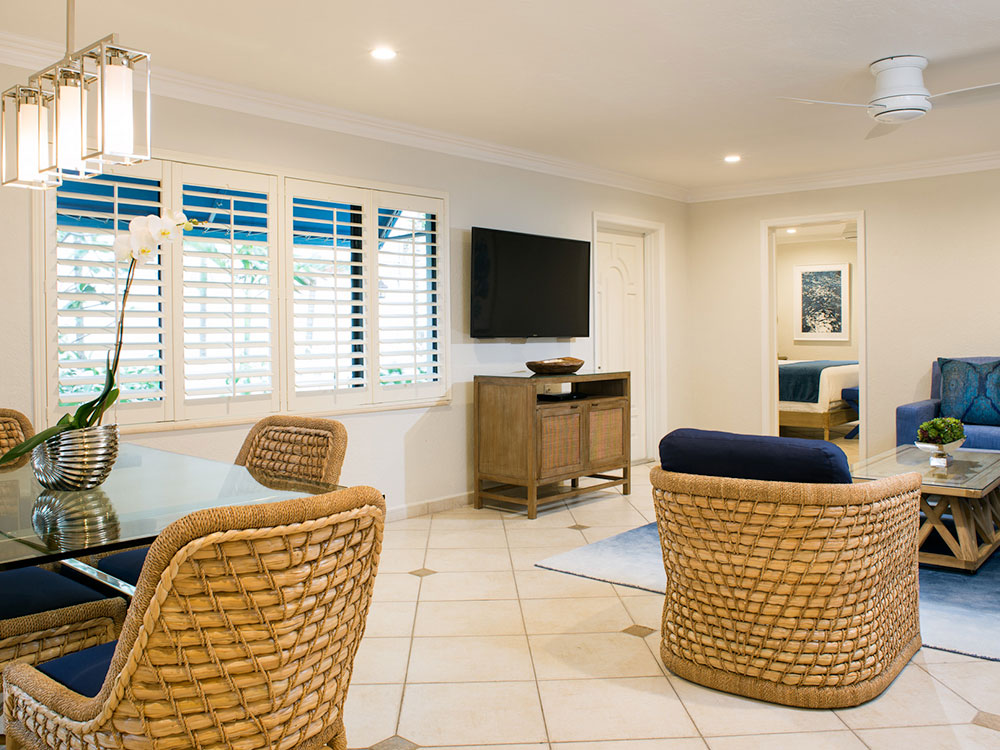 Photo of living room area of beach house.