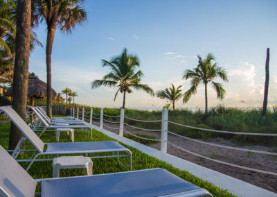 Photo of a grassy area with chaise lounges facing the beach.